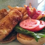 Haddock sandwich and French fries