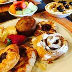 one order enough to feed 3 people--continental bfast with breads,yogurt and fruit off the menu