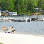 The resort's beach on Lake Lure