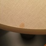 Lamp shade by TV, Shade with stain