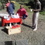 Breakfast at camp site near River Ewaso Ngiro