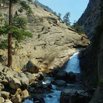Roaring River Falls from a trail located on the other side of Roaring River. Main Trail is bette