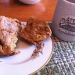 Rhubarb muffin & morning coffee.