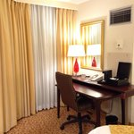 In room desk space as well as 24 hour business center...