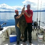 Captain Jeff and myself with a 40# halibut