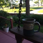Coffee on the Front Porch while sitting on the Swing
