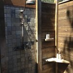 outdoor shower outside of master bathroom