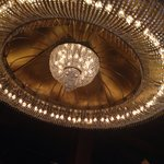 Chandelier above tables
