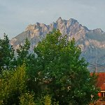 Zoomed in - the 6,132' Mount Pilatus. View from the French door on our little balcony.