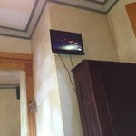 Bad place for SMALL TV , repair on walls and ceiling of room I paid $129.00 a night for !
