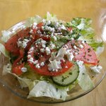 Petra salad with drizzle of lemon juice, feta cheese, dill,