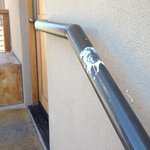 The bird poop stain on the handrail outside our room that greeted us each day of our stay.