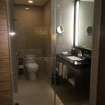 Toilet with glass panel. Can be covered with sliding door for privacy.