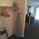 Closet space with iron and ironing board
