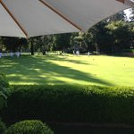 View of the croquet lawn from our private patio