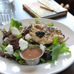 OMG salad with goat cheese and cherries with yummy vinaigrette