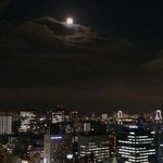 Moonrise over Tokyo from bedroom balcony