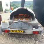 Wood fired oven with our lunch cooking!