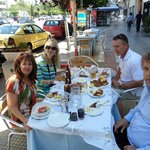 Eating lunch...that's Yiannis on the right