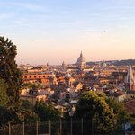 sunset view of historic Rome from Villa Borghese