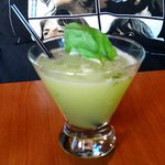 Welcome to Rivendell Martini  - Bombay Dry Gin, Muddled Basil,  Grapefruit Juice, and Sugar