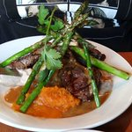 Grilled Lamb Chops  Served with yukon gold mashed potatoes, grilled asparagus spears, roasted bu