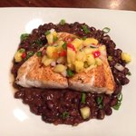 Blackened snapper with pineapple relish and southwest Blackbeans!