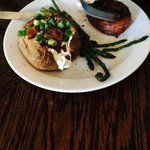 Sirloin tip meal with loaded mashed potato