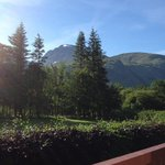 View to ben Nevis, camping and behind the trees lochy river