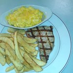 Grilled Tuna steak with galley made Mac-N-Cheese and galley fries