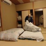 Surprisingly comfy bedding is Japanese style -- on the floor!