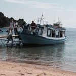 the water taxi at nostos beach