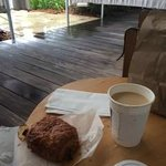 My croissant breakfast on my private patio