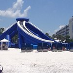 giant slide and beach cabanas