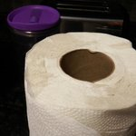 Dirty paper towels in kitchen