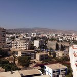 View from terrace across city towards Atlas Mountains