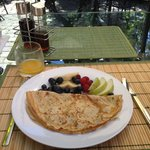 Delicious crepes and fruit for breakfast!