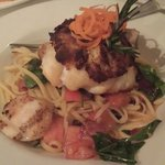 crab crusted grouper with baked scallops and a bacon pasta primavera!