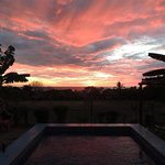 View from the pool of the beautiful sunset