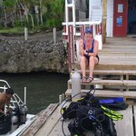 My bride Jane waiting to go diving