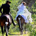 Riding from the chapel to the reception