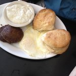 Eggs, Grits, Sausage and Two Biscuits