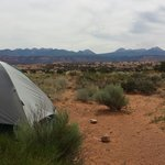"View from camp site ""D"" at Sand Flats Recreation Area."