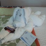 Isn't this just the cutest thing?  I found it on the bed when I checked in!