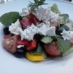 Colorful, crisp, delicious Feta Salad On Terrace