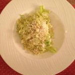 In room dining-Ceasar Salad, shredded wilted lettuce
