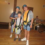 all suited up for the zip line