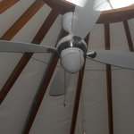 Ceiling fan and skylight in the yurt