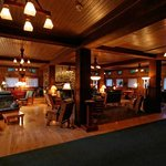 The lobby at the Wallowa Lake Lodge