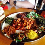 This is 2 shrimp entrees on one platter and sides for 3 different entrees. The lamb and beef ent